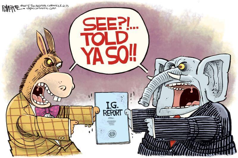Democrat vs GOP Reaction to DOJ IG Report - Cartoon
