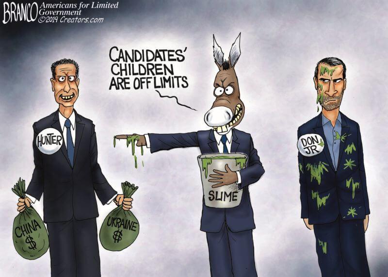 Democrat Hypocrisy On Hunter Biden Vs Don Trump Jr Illustrated With One Cartoon